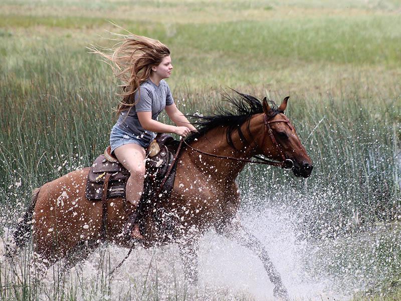 girl riding horse through water
